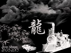 """Noche de Mafia"". En esta imagen se utilizaron los pinceles Clouds; Bamboo_brushes; Transportation_brush. Dragon. Fuente QualityStreet. Medidas 1024x768 pixeles. Orientación Horizontal."