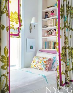 Little girls' bedroom with fabric from Osborne & Little | Tilton Fenwick Puts a Fresh Spin on a Traditional Artist's Loft in SoHo | New York Cottages & Gardens