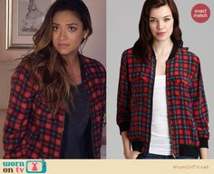 d954d7f1b2d Emily s red checked bomber jacket on Pretty Little Liars