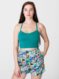 Floral Print Pleated Cuff Short in Purple Blue Posy Cotton by #AmericanApparel  #prints #shorts