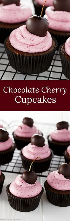 Cupcakes Chocolate Cherry Cupcakes - Chocolate cupcakes filled with cherry preserves and topped with cherry buttercream frosting. via Cherry Cupcakes - Chocolate cupcakes filled with cherry preserves and topped with cherry buttercream frosting.