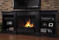 Black TV Stand w Fireplace Heater Wood Shelf Console LCD Entertainment Center #RealFlame #ModernContemporary
