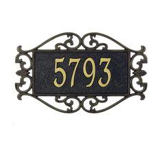 Lewis Fretwork Rectangular Black/Gold Standard Wall Two Line Address Plaque