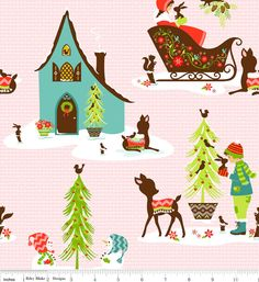 Alpine Wonderland Pink Deer Chalet Winter Riley Blake 1 yard. $8.99, via Etsy.