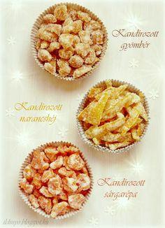 Hozzávalók: egy csipetnyi szeretet: Kandírozott narancshéj, gyömbér és sárgarépa Recipe Boards, Appetisers, Keep It Cleaner, Preserves, Cereal, Muffin, Spices, Food And Drink, Sweets