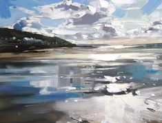 Painting Beach Scenes Sky 53 Ideas For 2019 Landscape Sketch, Landscape Artwork, Abstract Landscape Painting, Seascape Paintings, Contemporary Landscape, Contemporary Paintings, Painting Abstract, Landscape Pictures, Acrylic Paintings