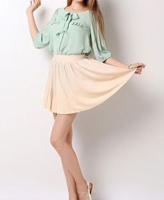 Pleated Pure Color Skirt with Elastic Waist