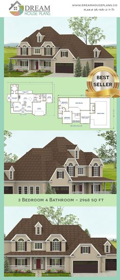 Dream House Plans: Affordable yet luxury Southern 3 Bedroom, 2968 Sq. - House Plans, Home Plan Designs, Floor Plans and Blueprints Open Floor House Plans, Simple House Plans, Basement House Plans, Southern House Plans, New House Plans, Dream House Plans, Southern Homes, Southern Cottage, Colonial House Plans
