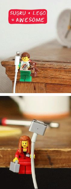 Organise your cables with Sugru + Lego!