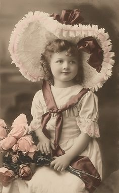 old tinted postcard, girl with bonnet