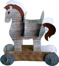 Ancient History Greece - Trojan Horse Paper Craft-- this was not my favorite craft ever. My boys really couldn't assemble them on their own at all. I'm not a huge fan of crafts I pretty much have to do for them. Ancient Greece Crafts, Ancient Greece For Kids, Ancient Greek Art, Ancient History, Egyptian Art, Art History, Paper Toys, Paper Crafts, Greece Party