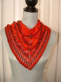 The BLT (Basic Lace Triangle) scarf/shawl is designed for a beginner with the option of beading. It uses a simple repeating pattern and is great for learning how to use a chart. There are no difficult stitches used. The pattern is fully written and charted.