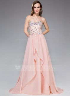 Prom Dresses - $139.99 - A-Line/Princess Sweetheart Sweep Train Chiffon Prom Dress With Beading Sequins Cascading Ruffles (018047248) http://jjshouse.com/A-Line-Princess-Sweetheart-Sweep-Train-Chiffon-Prom-Dress-With-Beading-Sequins-Cascading-Ruffles-018047248-g47248