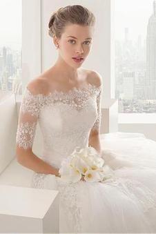 Prinzessin Schatz Ausschnitt Satin Tüll Spitze schulterfrei aufgeblähtes Brautkleider - Vorderseite