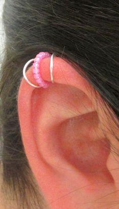 Ear Cuff, Cartilage Cuff, Ear Wrap, Beaded Ear Cuff, Helix Accessory, No Pierce Cartilage Jewelry, Beaded Ear Wrap, Silver Ear Cuff,  $7.25
