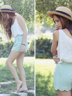 Pretty outfit and love the hat. I saw shorts like this at Simon's today!