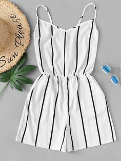 Shop Criss Cross Back Striped Romper online. SHEIN offers Criss Cross Back Striped Romper & more to fit your fashionable needs. Cute Lazy Outfits, Teenage Girl Outfits, Girls Fashion Clothes, Teen Fashion Outfits, Mode Outfits, Girly Outfits, Teenager Outfits, Cute Fashion, Pretty Outfits