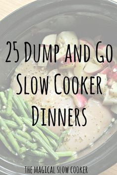 25 Dump and Go Slow Cooker Recipes to get you out the door quicker in the morning! These recipes require no browning of the meat, so no extra dirty pot in the morning! 25 Dump and Go Slow Cooker Recipes Crock Pot Food, Crock Pot Freezer, Crockpot Dishes, Crock Pot Slow Cooker, Crock Pot Dump Meals, Best Crockpot Meals, Crock Pots, Crockpot Dump Recipes, Crockpot Dumplings