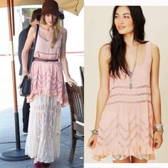 Free people voile and lace trapeze slip dress Free people voile and lace trapeze slip dress in blush size small. Worn twice. Rare color, as seen on Taylor swift. Please do not low ball me. I will block you! I would rather keep the item. Do not be rude Free People Dresses Mini