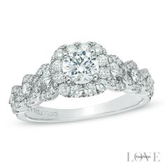 Vera Wang LOVE Collection 1-1/4 CT. T.W. Diamond Frame Engagement Ring in 14K White Gold