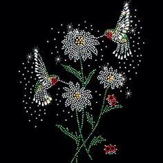 Womans Short Sleeve Top Sparkling Rhinestone Hummingbird and Flower Design 154111 Dot Art Painting, Mandala Painting, Painting Patterns, Stone Painting, Sequin Crafts, Rhinestone Crafts, Diagrammes Origami, Hummingbird Flowers, Mandala Dots
