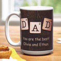 Personalized D is for Dad Mug, Black