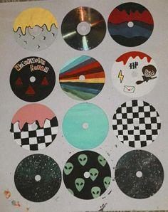 Cd Wall Art, Cd Art, Indie Room Decor, Aesthetic Room Decor, Cd Decor, Vinyl Record Art, Vinyl Art, Mini Canvas Art, Diy Canvas