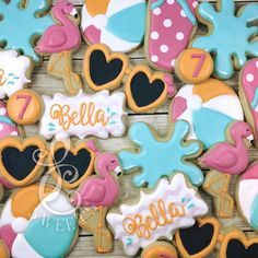 Summer Royal Icing Sugar, Royal Icing Cookies, Cake Cookies, Summer Cookies, Cookies For Kids, Beach Dessert, Cookie Crush, Fancy Cupcakes, Iced Biscuits