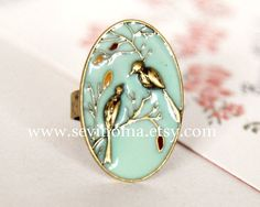 bird ring, vintage style, cute lovely two birds adjustable ring - LoveItSoMuch.com