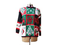 Ugly Christmas Sweater XL Tacky Christmas Sweater Black XXL Extra Large Sweater Jumper Cardigan Womens Clothing Tops Sweaters Knit Plus Size