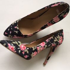 "Like New Asos Heels Gorgeous floral patterned fabric 4 1/2"" heels. Worn once inside for a very short time. Smoke-free home. ASOS Shoes Heels"