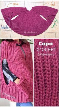 Paso a paso en vídeo tutorial: Capa con manga ojal y bolsillos tejida a en punto imitación elástico tricot Crochet Cape, Black Crochet Dress, Crochet Jacket, Crochet Beanie, Crochet Cardigan, Knitted Shawls, Crochet Shawl, Diy Crochet, Crochet Stitches