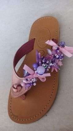 Handmade leather sandals with pearls designed by Elli lyraraki