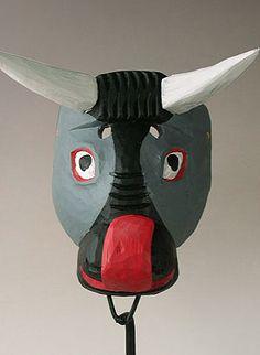 Bull mask, Torito dance, Guatemala, painted wood