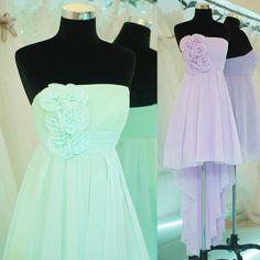 Custom 2014 Hot Cheap Strapless Handmade flower Chiffon Knee-length Simple Short Prom Dresses Evening Dress Simple Dress Homecoming dresses$79.00