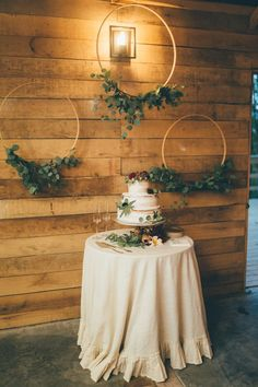 Simple yet elegant cake display from this rustic and boho wedding | Image Amber Phinisee Photography