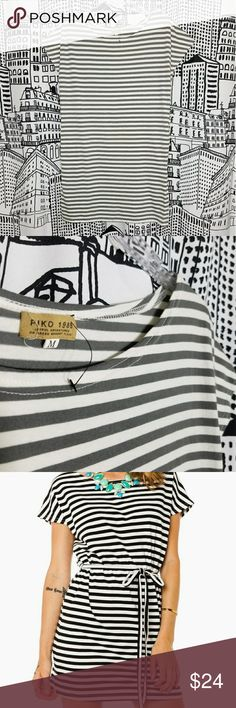 NWOT Piko Cozy Striped Dress Cozy Striped Tie Waist Dress New without tag Grey and White Belt loops and pockets No belt included Could be worn as a long tunic Piko 1988 Dresses Mini