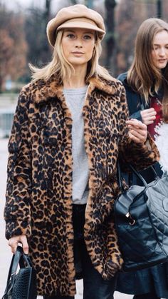 Leopard print Faux fur coat   camel baker boy cap