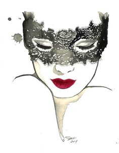 The Masked Beauty, print from original watercolor fashion illustration by Jessica Durrant Watercolor Fashion, Watercolor Art, Art Sketches, Art Drawings, Jolie Photo, Female Art, Art Projects, Original Paintings, Illustration Art