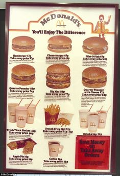 the first UK McDonald's opened, guess how much a value meal cost? McDonalds menu in the Source: McDonaldsMcDonalds menu in the Source: McDonalds Vintage Restaurant, Fast Food Restaurant, Retro Recipes, Vintage Recipes, Mcdonald Menu, 70s Food, Vintage Menu, Vintage Food, Funny Vintage Ads