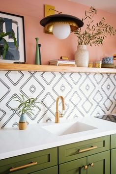 Dabito of Old Brand New showcases his New Orleans-inspired guest house kitchenette featuring open shelving, green cabinets, patterned tile and a Trinsic faucet in Champagne Bronze. for bedroom wohnung decoration dekorieren einrichten ideen Kitchen And Bath, New Kitchen, Kitchen Island, Kitchen Small, Small Kitchens, Kitchen Plants, Small Kitchen Designs, Country Kitchen, Kitchen Black