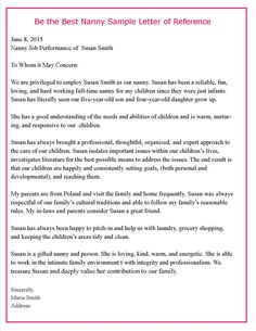 7 Best Letters Of Recommendations Images Nanny Jobs Letter