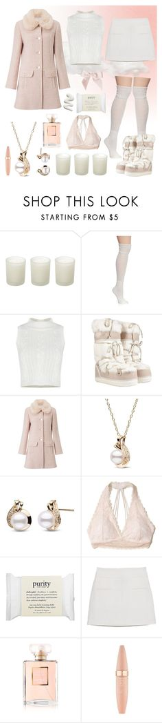 """""""Snow Angel"""" by cherrydaydreams ❤ liked on Polyvore featuring Casa Couture, New Directions, Salvatore Ferragamo, Miss Selfridge, Hollister Co., philosophy, MANGO, Chanel and Maybelline"""