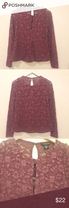"""Moda International Plum Lace Long Sleeve Blouse Moda International Plum Lace Long Sleeve Blouse  Approximate Measurements: Pit to Pit: 16.5"""" Length: 23.5""""  Sleeve Length: 27"""" Condition: No rips, no stains  A03 Moda International Tops Blouses"""
