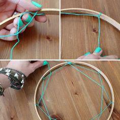 réaliser un attrape rêve en corde et bois - étapes de bricolage simple