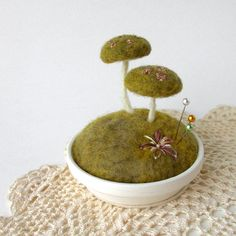 Mossy Floral Mushrooms Pincushion Scene Made To Order