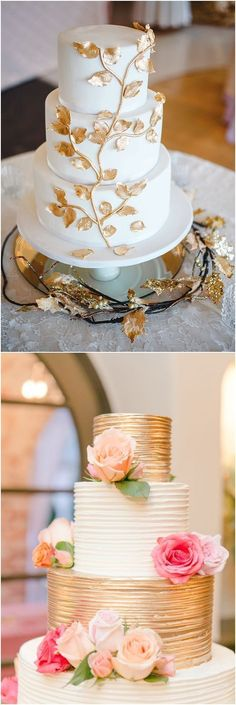 wedding cake was a vanilla and cream confection with fondant and edible gold leaves / http://www.deerpearlflowers.com/amazing-wedding-cake-ideas/5/ #weddingcakes #goldweddingcakes