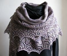 DominiqueBe used Malabrigo Lace for this free lace shawl pattern. Carine colorway.