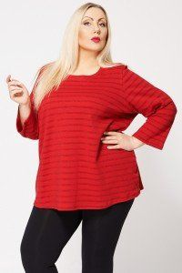 Sparkly Red Stripe Jumper Top In Red