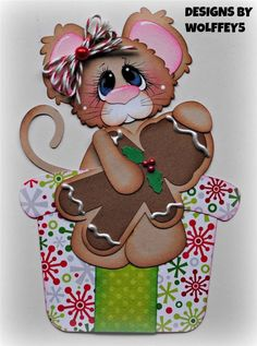 ELITE4U XMAS MICE paper piecing premade scrapbook page mat set border WOLFFEY5